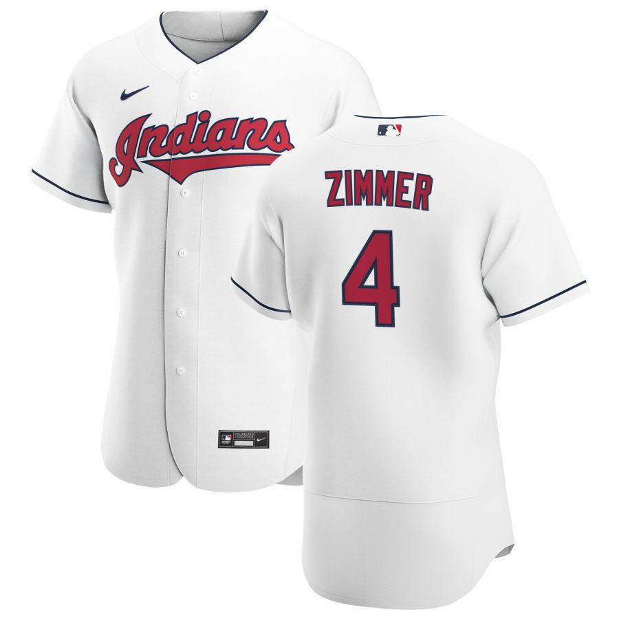 Cheap Cleveland Indians 4 Bradley Zimmer Men Nike White Home 2020 Authentic Team MLB Jersey