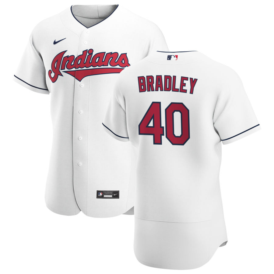 Cheap Cleveland Indians 40 Bobby Bradley Men Nike White Home 2020 Authentic Team MLB Jersey