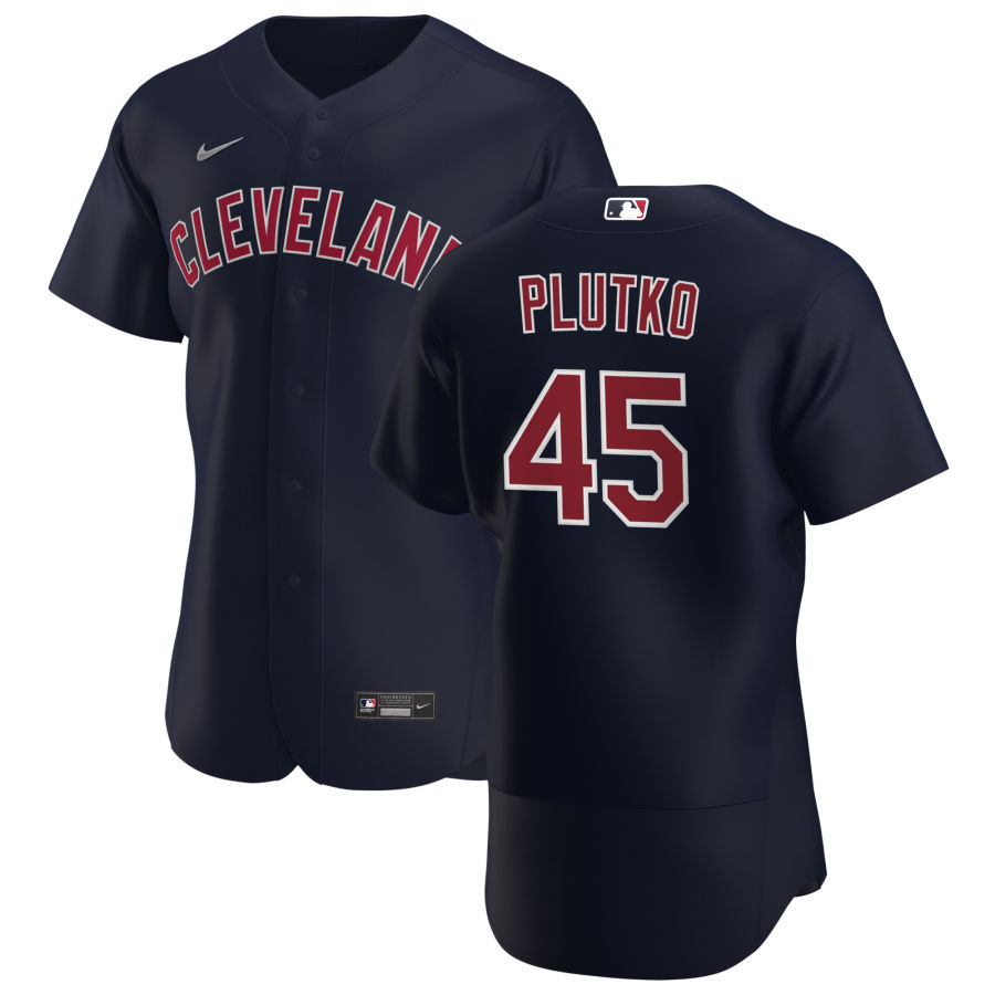 Cheap Cleveland Indians 45 Adam Plutko Men Nike Navy Alternate 2020 Authentic Player MLB Jersey