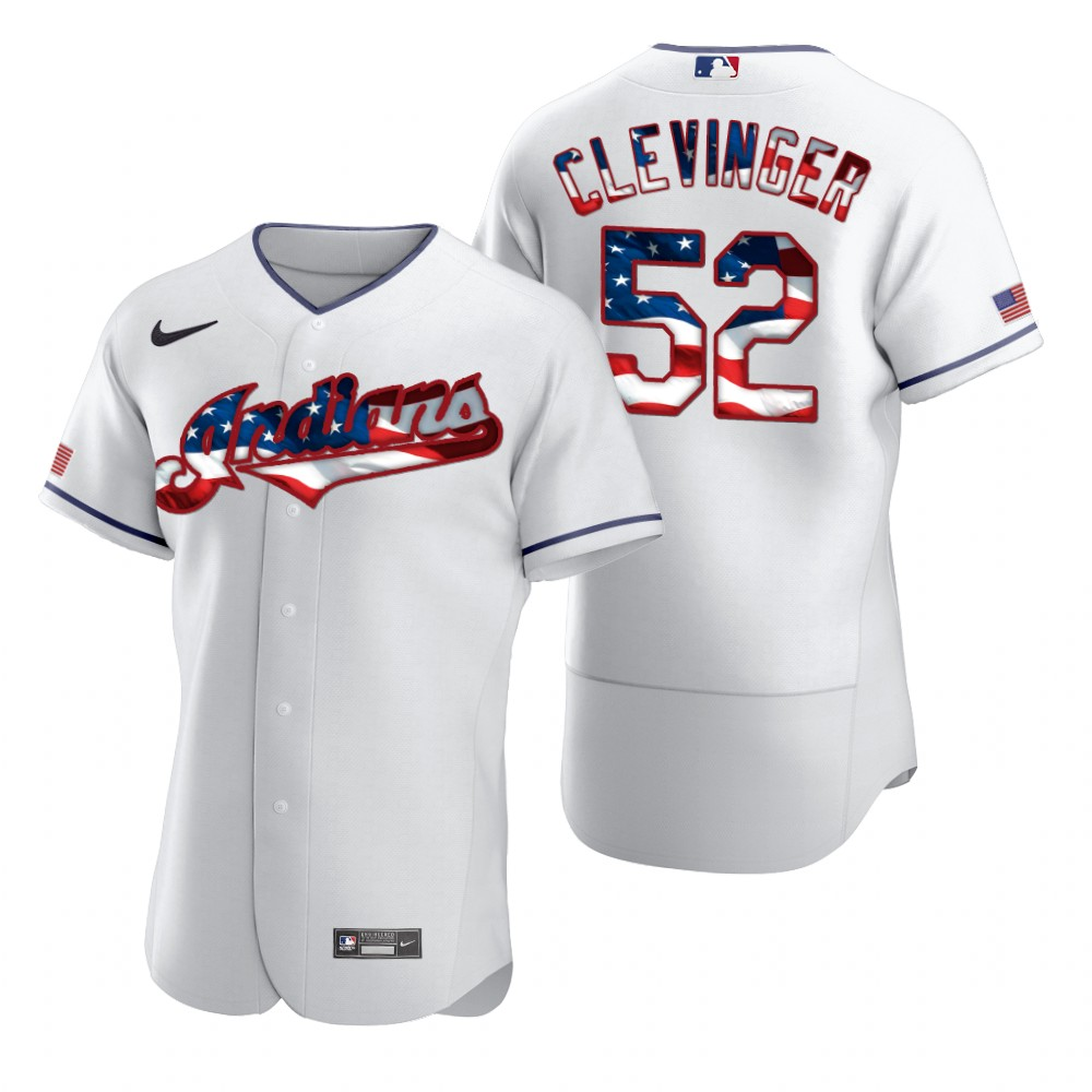 Cheap Cleveland Indians 52 Mike Clevinger Men Nike White Fluttering USA Flag Limited Edition Authentic MLB Jersey