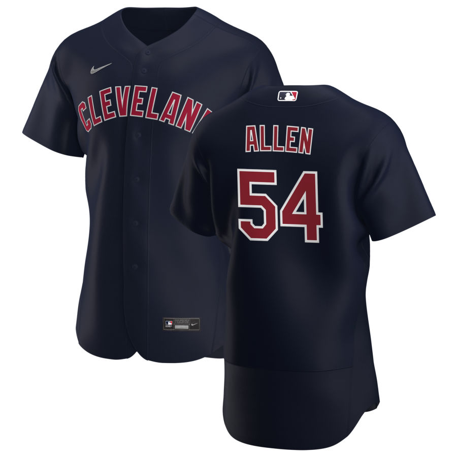 Cheap Cleveland Indians 54 Logan Allen Men Nike Navy Alternate 2020 Authentic Player MLB Jersey