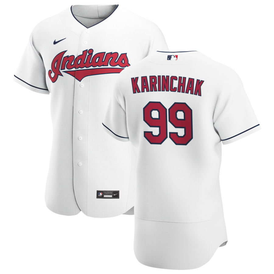 Cheap Cleveland Indians 99 James Karinchak Men Nike White Home 2020 Authentic Team MLB Jersey