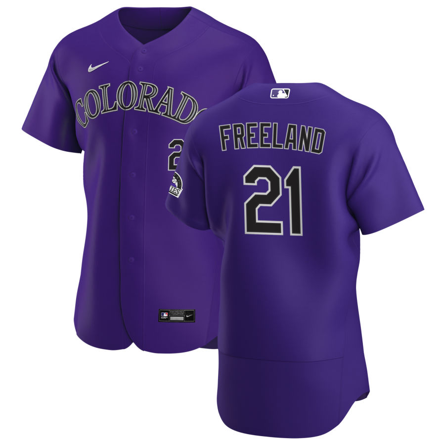 Wholesale Colorado Rockies 21 Kyle Freeland Men Nike Purple Alternate 2020 Authentic Player MLB Jersey