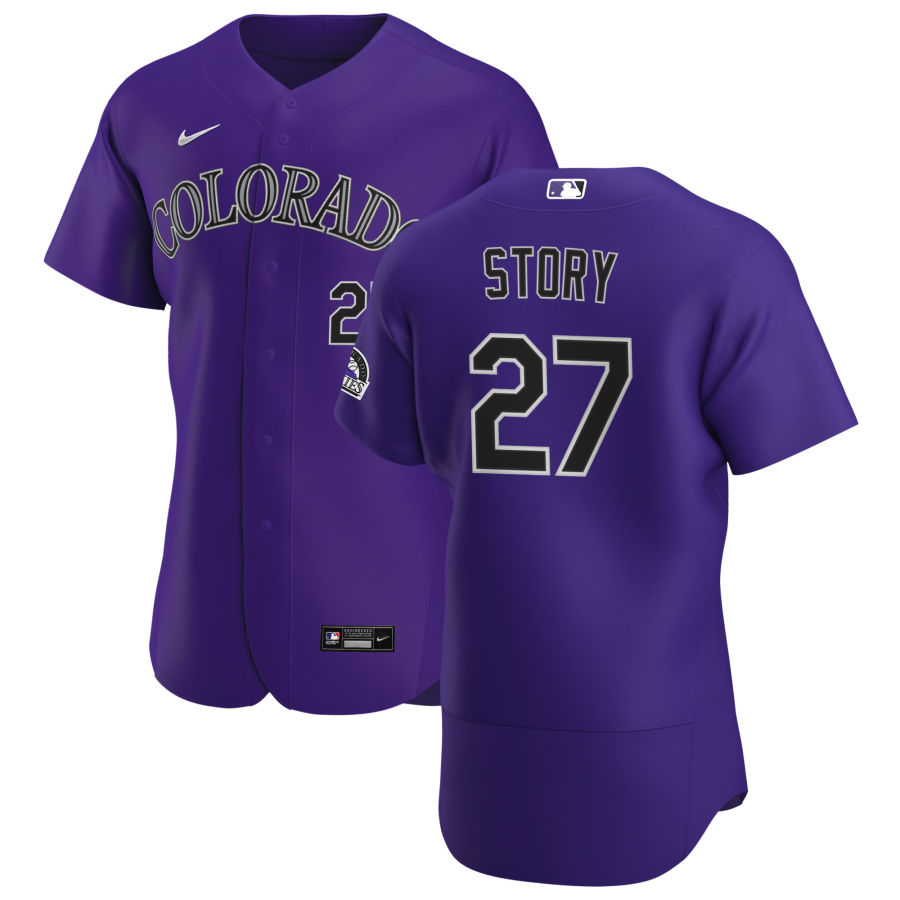 Wholesale Colorado Rockies 27 Trevor Story Men Nike Purple Alternate 2020 Authentic Player MLB Jersey