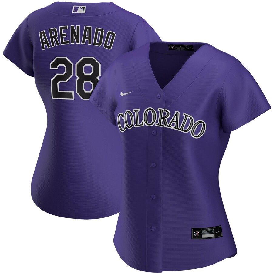 Wholesale Colorado Rockies 28 Nolan Arenado Nike Women Alternate 2020 MLB Player Jersey Purple