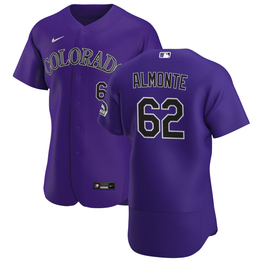 Wholesale Colorado Rockies 62 Yency Almonte Men Nike Purple Alternate 2020 Authentic Player MLB Jersey