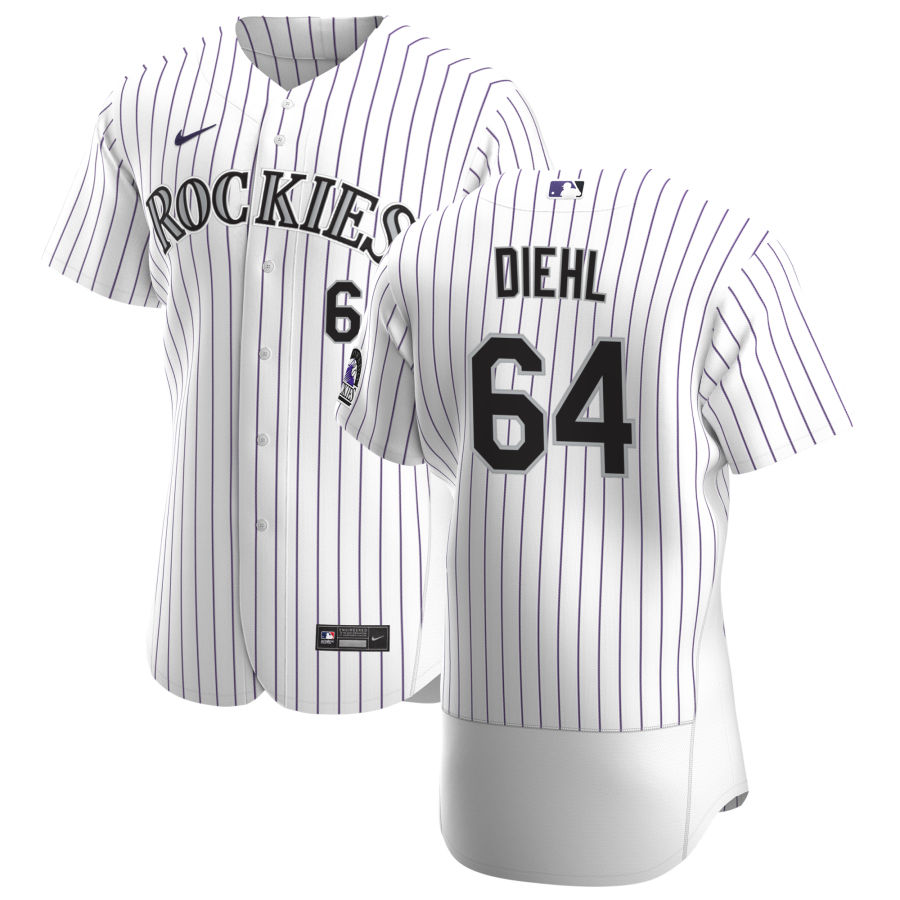 Wholesale Colorado Rockies 64 Phillip Diehl Men Nike White Home 2020 Authentic Player MLB Jersey