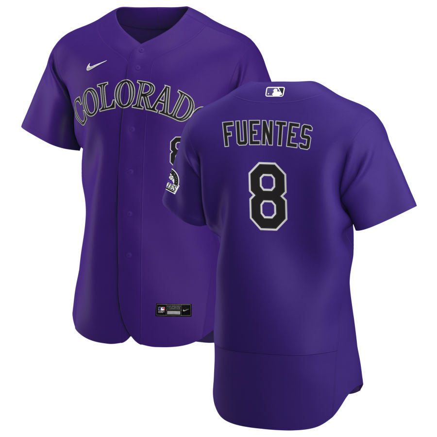 Wholesale Colorado Rockies 8 Josh Fuentes Men Nike Purple Alternate 2020 Authentic Player MLB Jersey