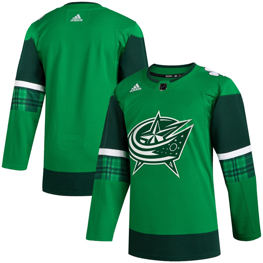 Wholesale Columbus Blue Jackets Blank Men Adidas 2020 St. Patrick Day Stitched NHL Jersey Green