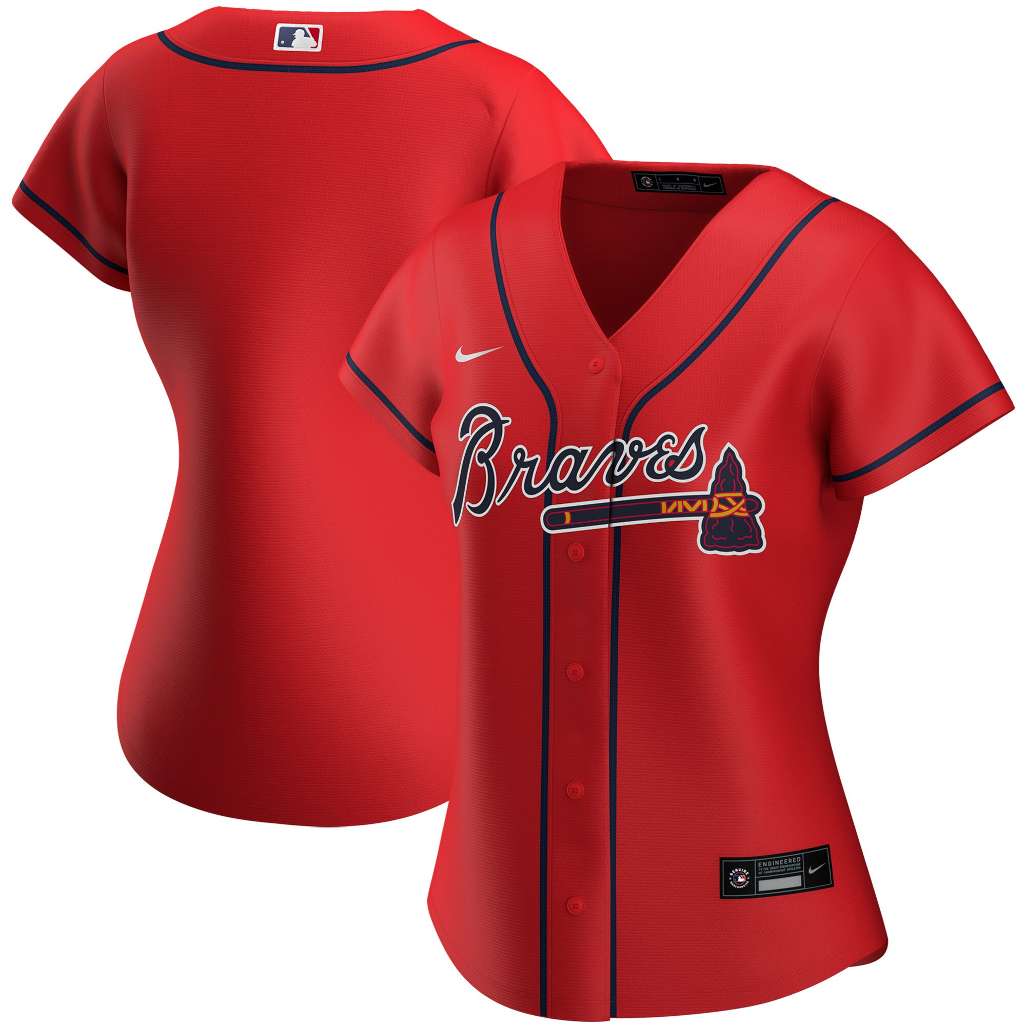 Wholesale Custom Atlanta Braves Nike Women Alternate 2020 MLB Jersey Red
