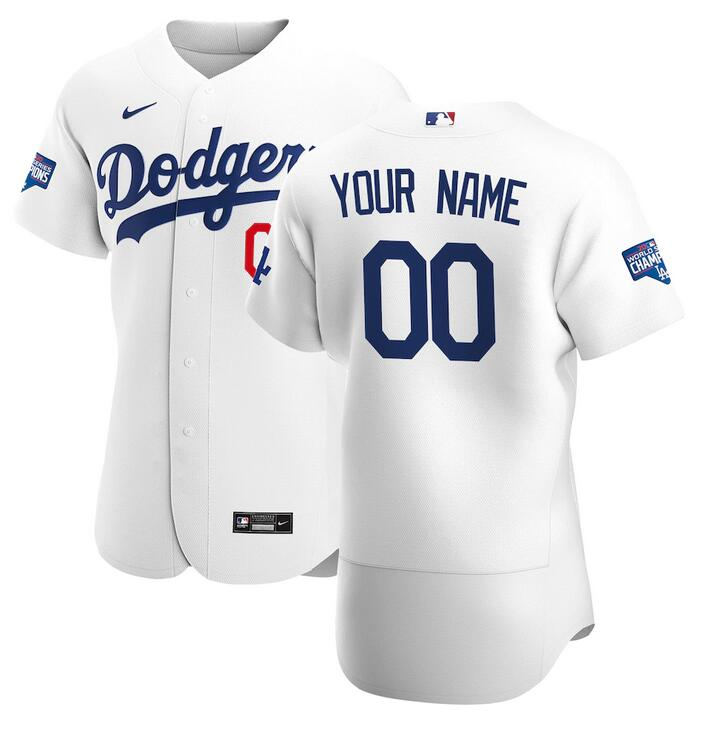 Wholesale Custom Men Los Angeles Dodgers Nike White 2020 World Series Champions Home Custom MLB Jersey