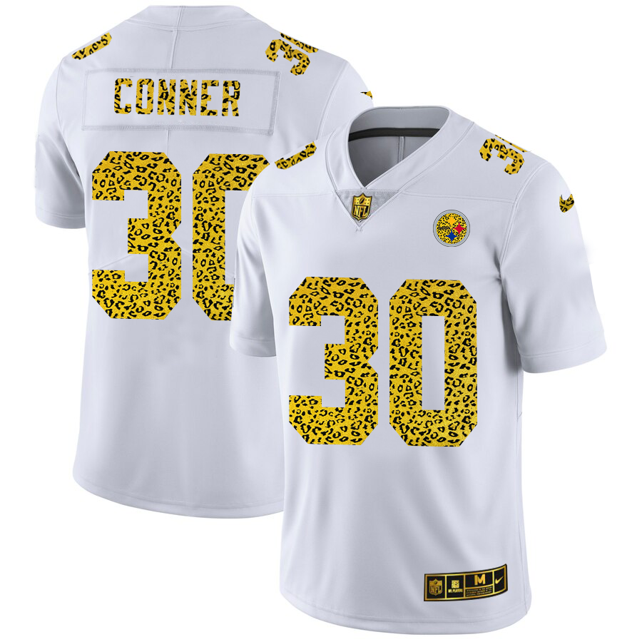 Cheap Custom Pittsburgh Steelers 30 James Conner Men Nike Flocked Leopard Print Vapor Limited NFL Jersey White
