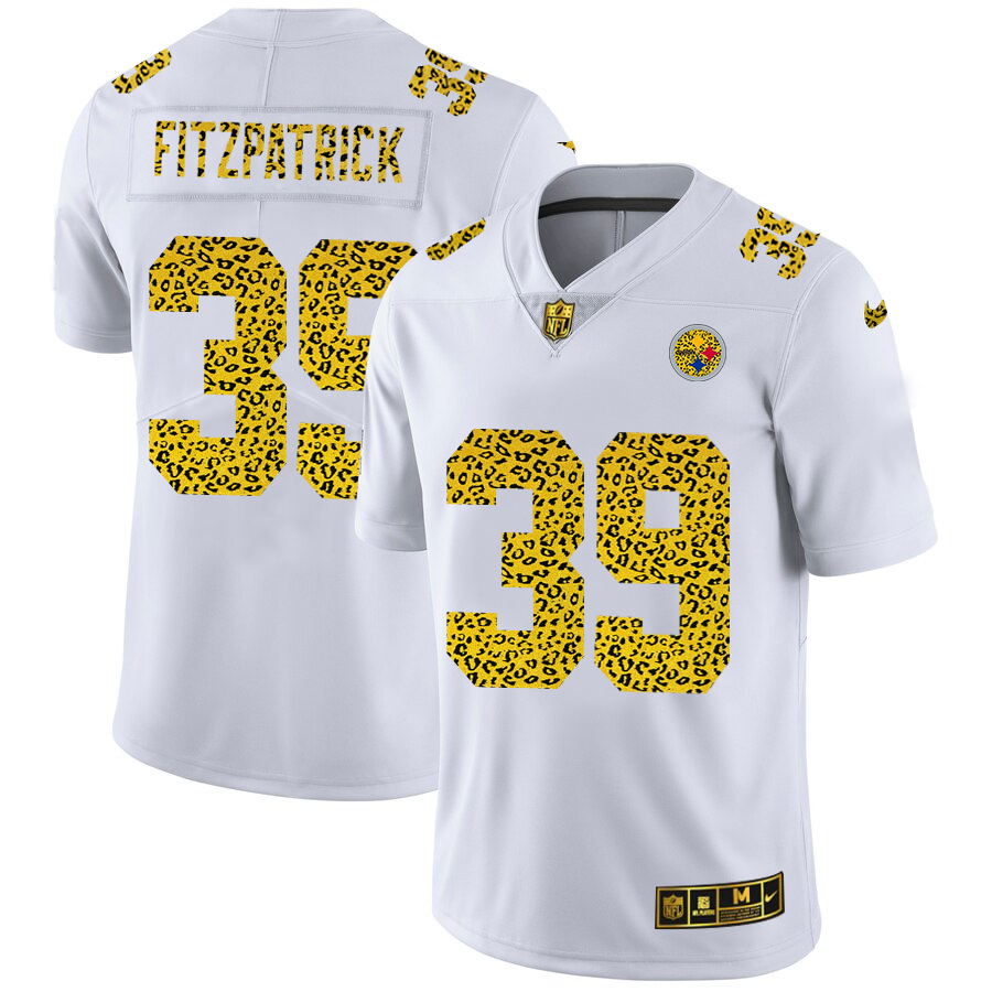 Cheap Custom Pittsburgh Steelers 39 Minkah Fitzpatrick Men Nike Flocked Leopard Print Vapor Limited NFL Jersey White