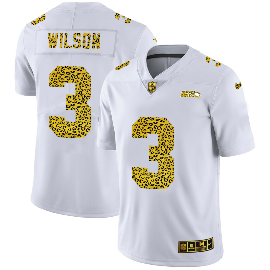 Wholesale Custom Seattle Seahawks 3 Russell Wilson Men Nike Flocked Leopard Print Vapor Limited NFL Jersey White