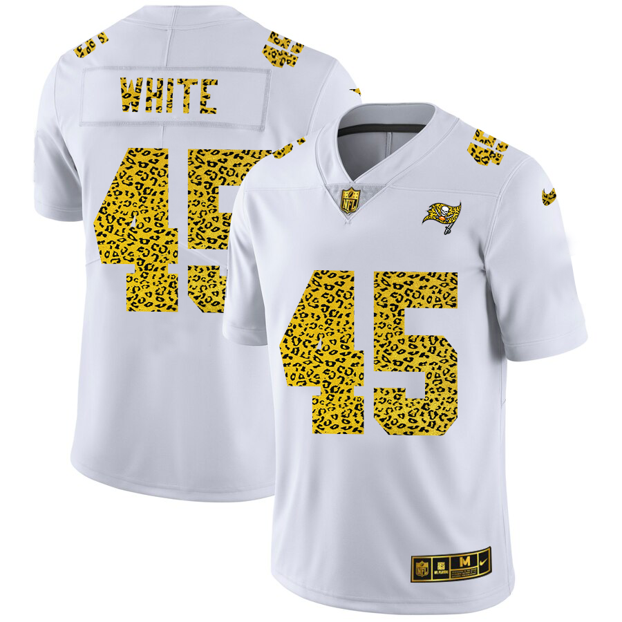 Cheap Custom Tampa Bay Buccaneers 45 Devin White Men Nike Flocked Leopard Print Vapor Limited NFL Jersey White