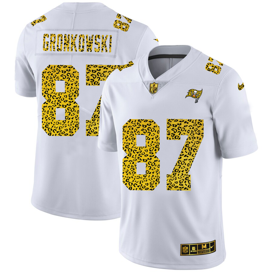 Cheap Custom Tampa Bay Buccaneers 87 Rob Gronkowski Men Nike Flocked Leopard Print Vapor Limited NFL Jersey White