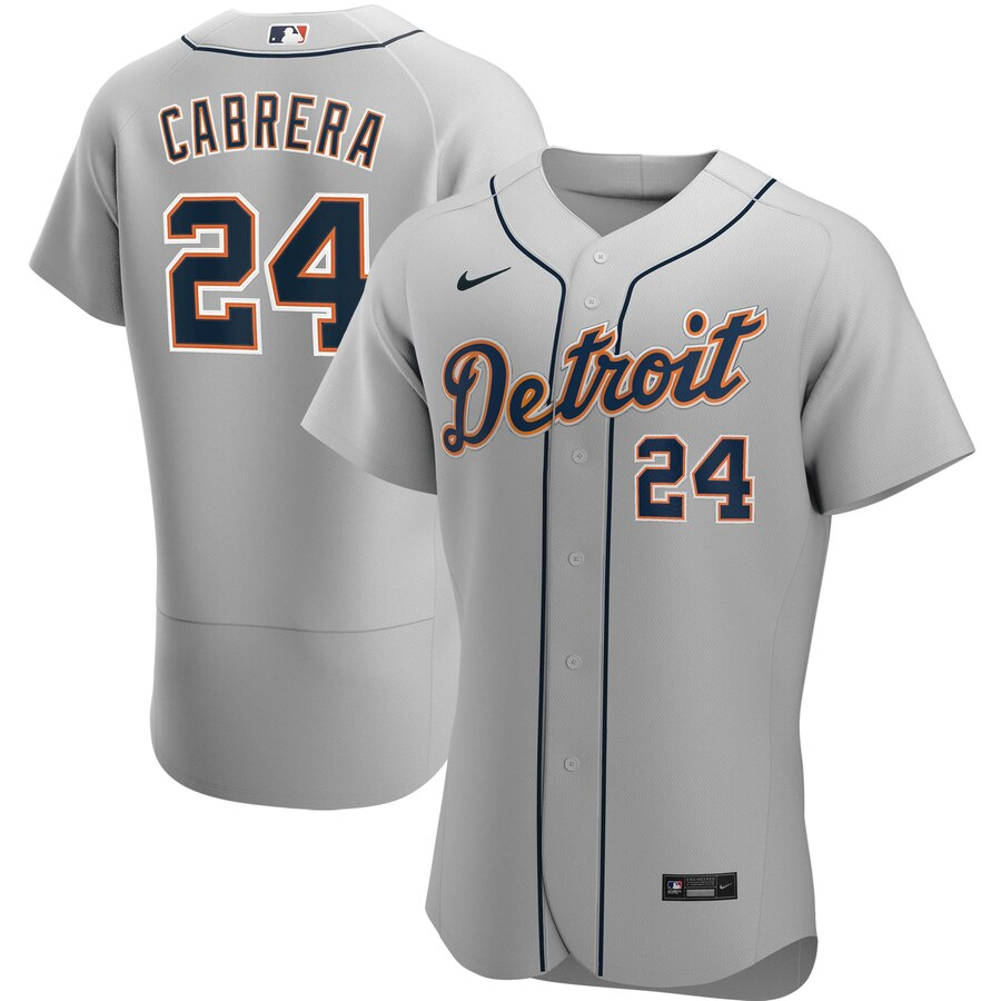 Cheap Detroit Tigers 24 Miguel Cabrera Men Nike Gray Road 2020 Authentic Player MLB Jersey