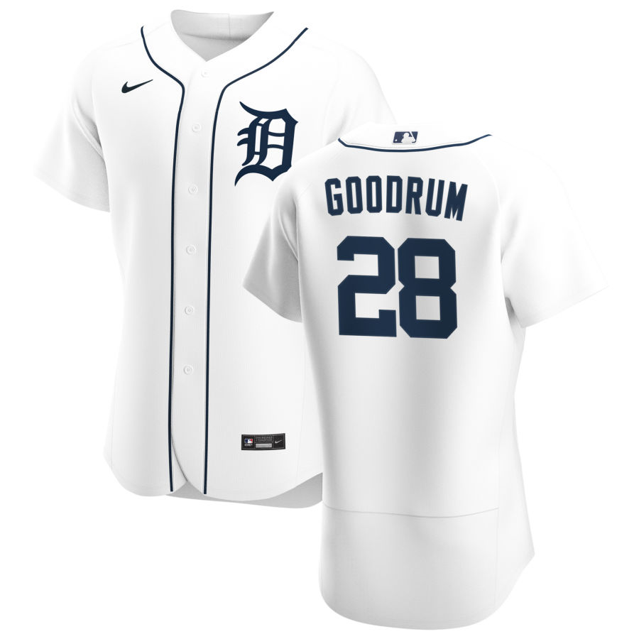 Cheap Detroit Tigers 28 Niko Goodrum Men Nike White Home 2020 Authentic Player MLB Jersey