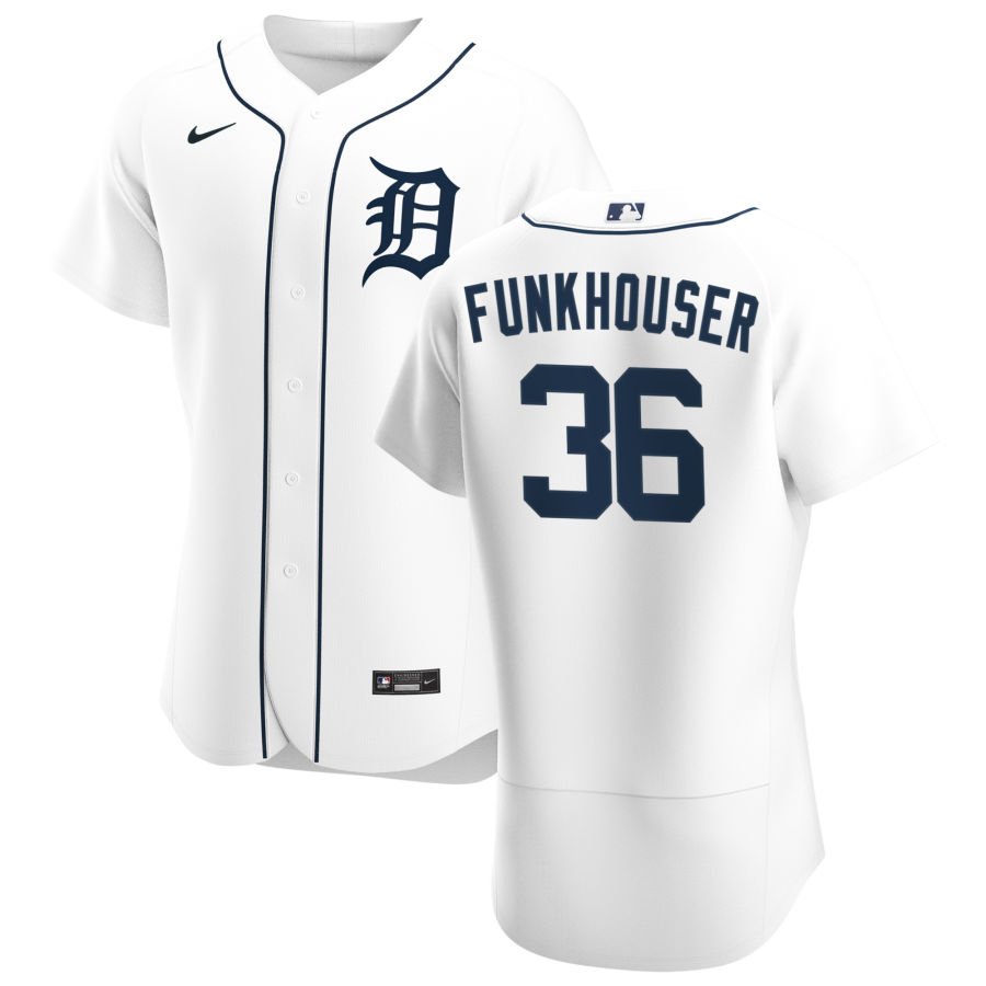 Cheap Detroit Tigers 36 Kyle Funkhouser Men Nike White Home 2020 Authentic Player MLB Jersey