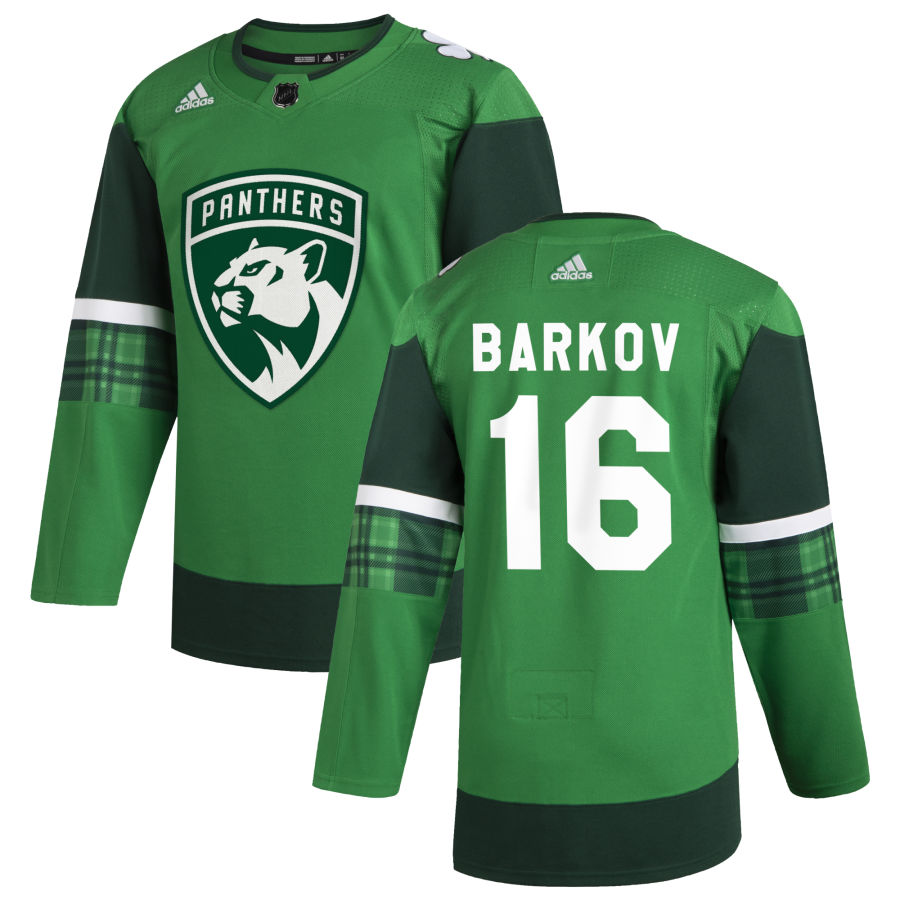 Cheap Florida Panthers 16 Aleksander Barkov Men Adidas 2020 St. Patrick Day Stitched NHL Jersey Green