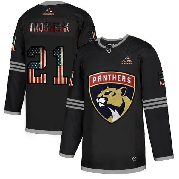 Cheap Florida Panthers 21 Vincent Trocheck Adidas Men Black USA Flag Limited NHL Jersey