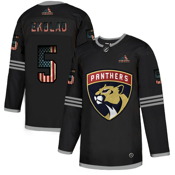 Cheap Florida Panthers 5 Aaron Ekblad Adidas Men Black USA Flag Limited NHL Jersey