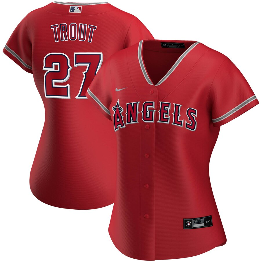 Wholesale Los Angeles Angels 27 Mike Trout Nike Women Alternate 2020 MLB Player Jersey Red