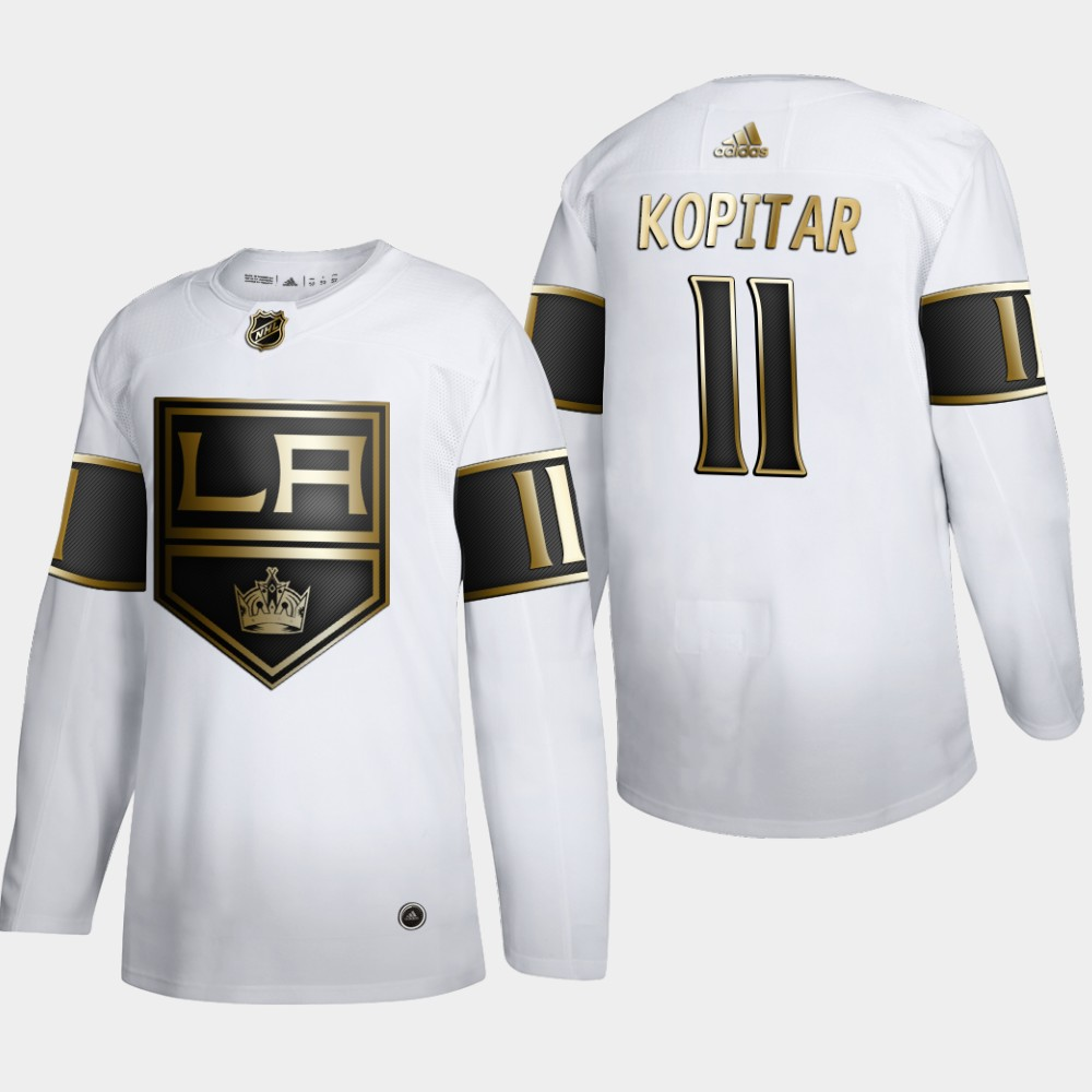 Wholesale Los Angeles Kings 11 Anze Kopitar Men Adidas White Golden Edition Limited Stitched NHL Jersey