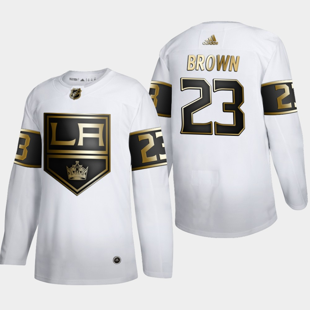 Wholesale Los Angeles Kings 23 Dustin Brown Men Adidas White Golden Edition Limited Stitched NHL Jersey