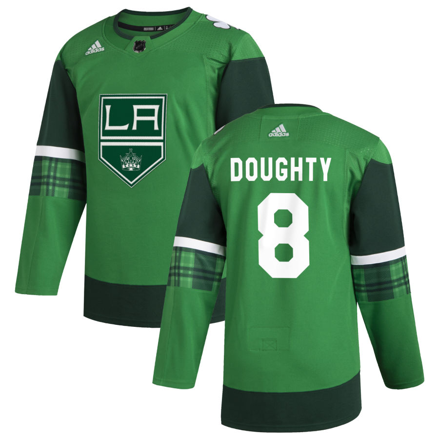 Wholesale Los Angeles Kings 8 Drew Doughty Men Adidas 2020 St. Patrick Day Stitched NHL Jersey Green