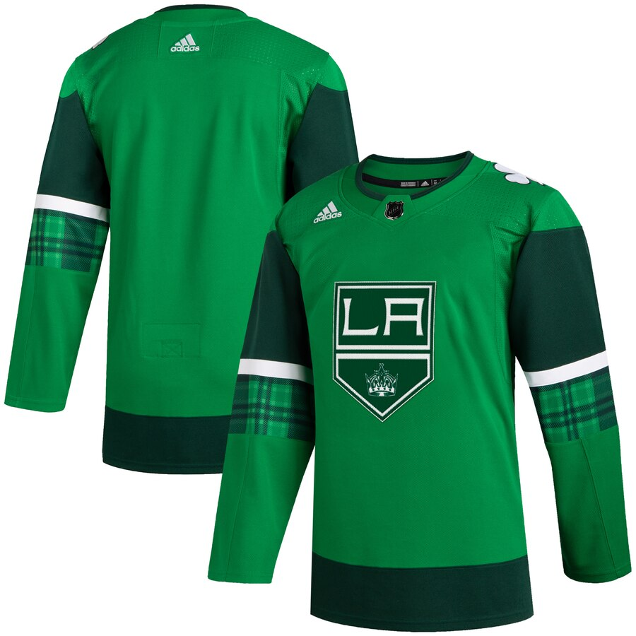 Wholesale Los Angeles Kings Blank Men Adidas 2020 St. Patrick Day Stitched NHL Jersey Green