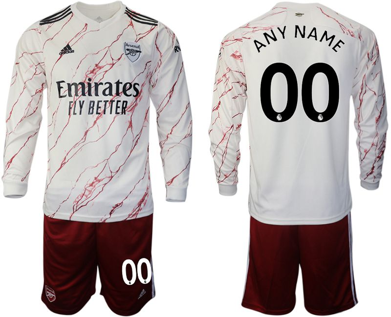 Cheap Men 2020-2021 club Arsenal away long sleeve customized white Soccer Jerseys