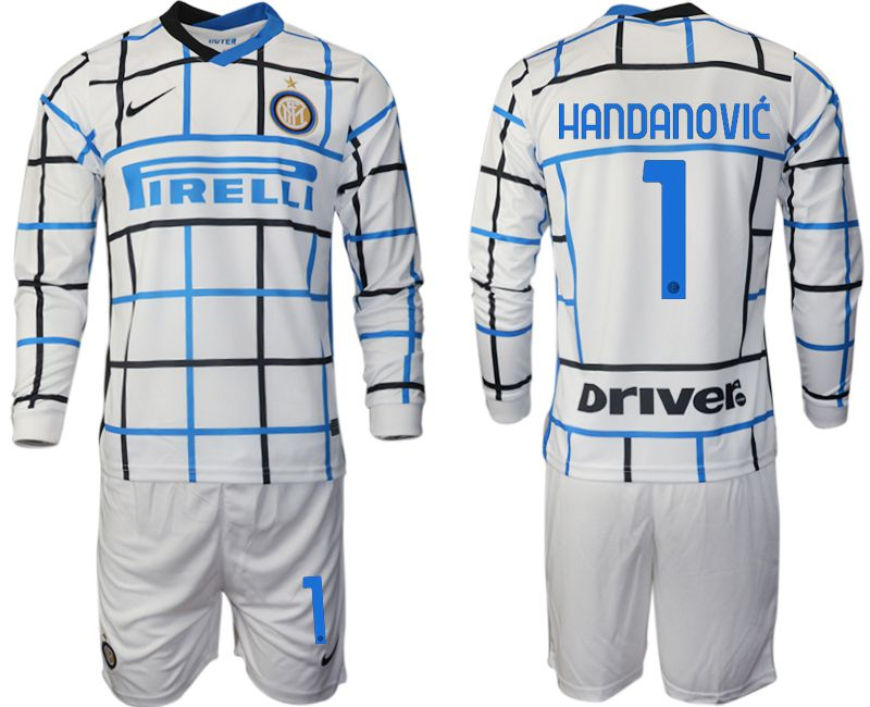 Wholesale Men 2020-2021 club Inter milan away long sleeve 1 white Soccer Jerseys