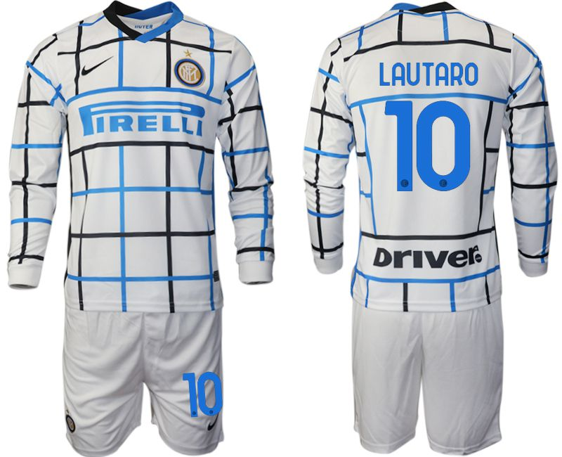 Wholesale Men 2020-2021 club Inter milan away long sleeve 10 white Soccer Jerseys