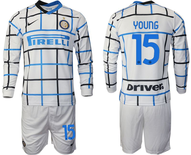 Wholesale Men 2020-2021 club Inter milan away long sleeve 15 white Soccer Jerseys