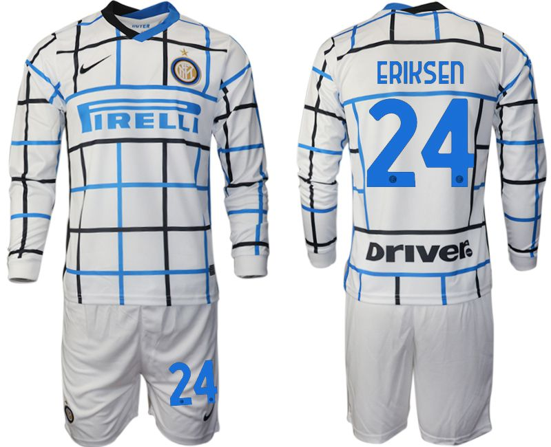 Wholesale Men 2020-2021 club Inter milan away long sleeve 24 white Soccer Jerseys