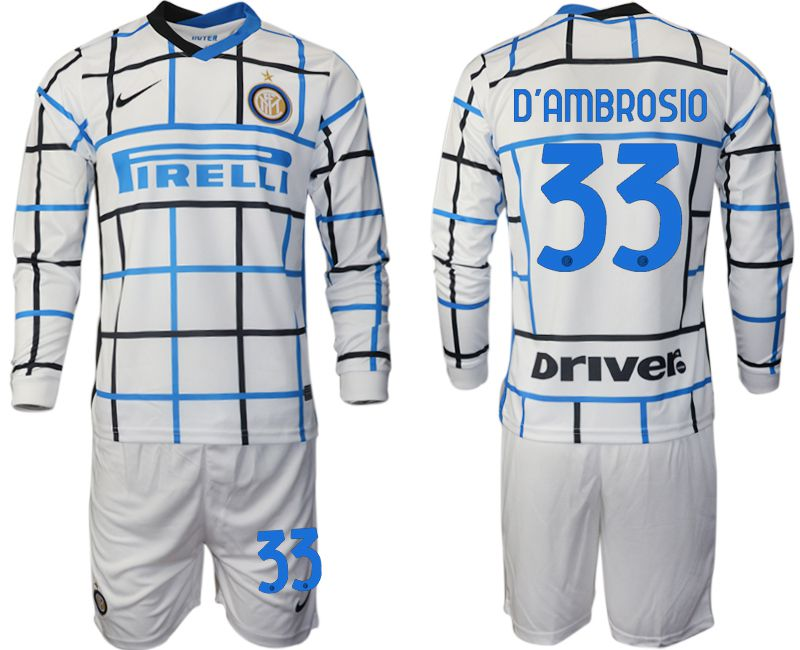 Wholesale Men 2020-2021 club Inter milan away long sleeve 33 white Soccer Jerseys