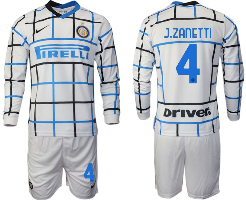 Wholesale Men 2020-2021 club Inter milan away long sleeve 4 white Soccer Jerseys