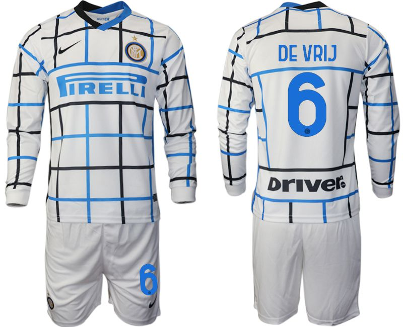 Wholesale Men 2020-2021 club Inter milan away long sleeve 6 white Soccer Jerseys