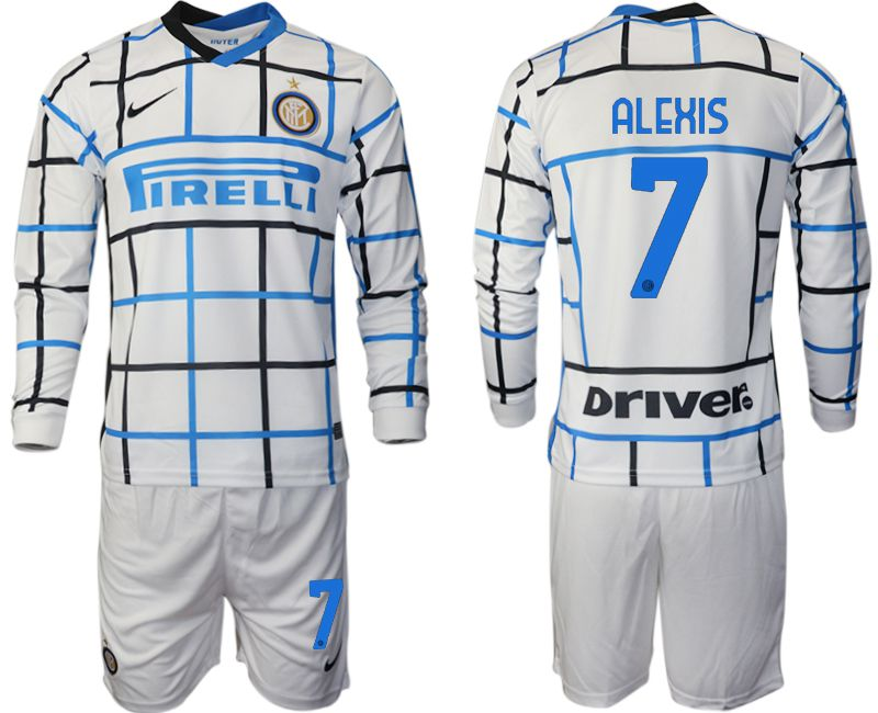 Wholesale Men 2020-2021 club Inter milan away long sleeve 7 white Soccer Jerseys