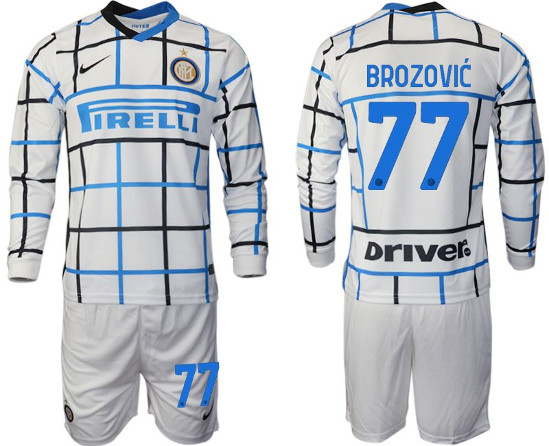 Wholesale Men 2020-2021 club Inter milan away long sleeve 77 white Soccer Jerseys