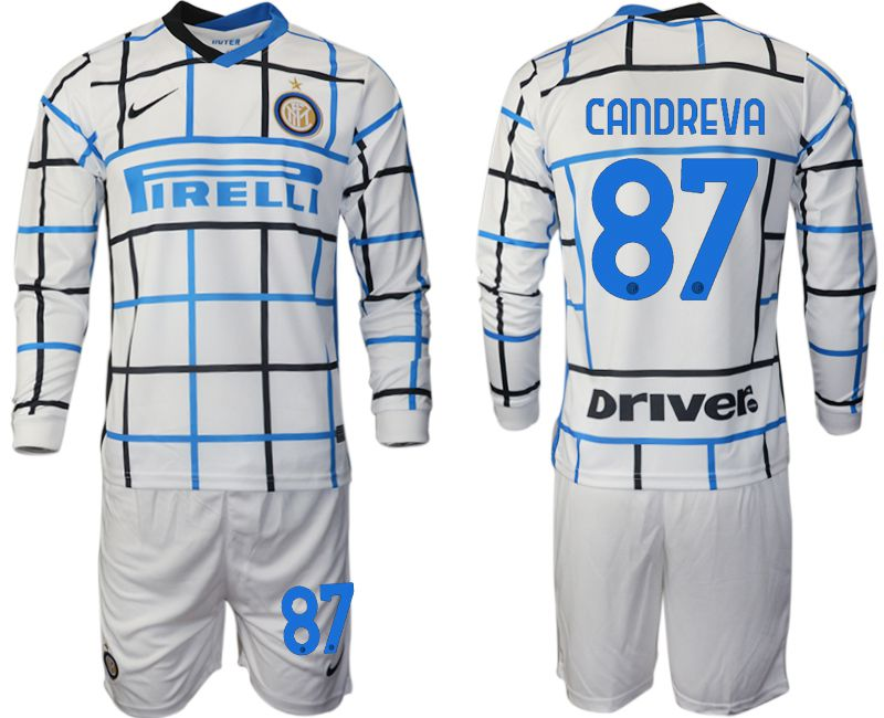 Wholesale Men 2020-2021 club Inter milan away long sleeve 87 white Soccer Jerseys