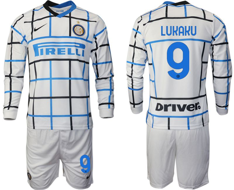 Wholesale Men 2020-2021 club Inter milan away long sleeve 9 white Soccer Jerseys
