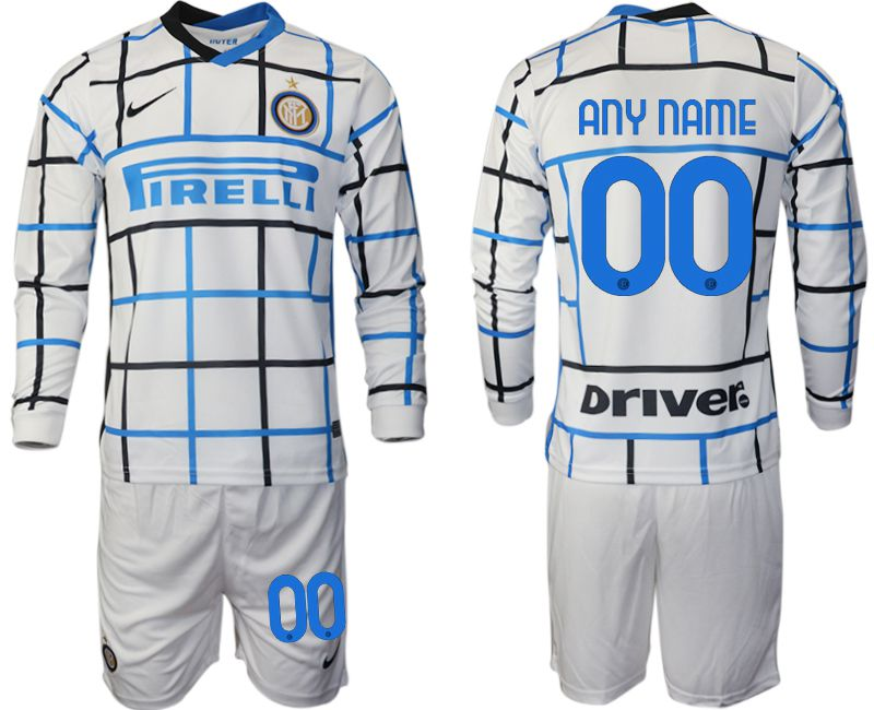 Wholesale Men 2020-2021 club Inter milan away long sleeve customized white Soccer Jerseys