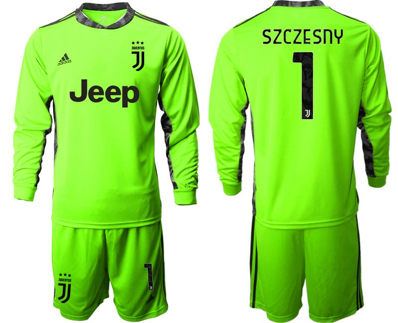 Cheap Men 2020-2021 club Juventus FC fluorescent green goalkeeper long sleeve 1 Soccer Jerseys