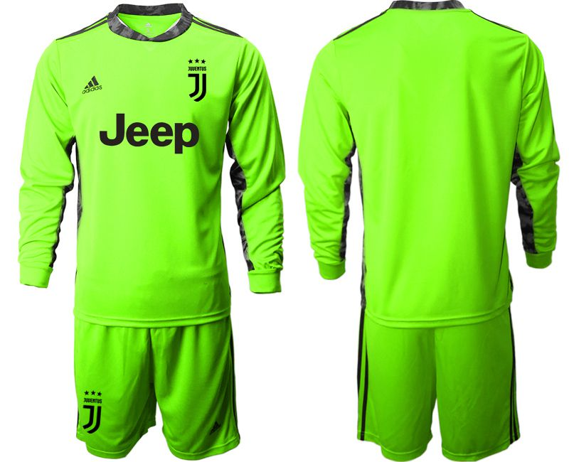 Cheap Men 2020-2021 club Juventus FC fluorescent green goalkeeper long sleeve Soccer Jerseys