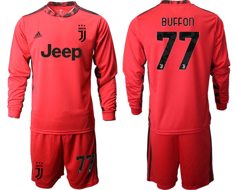 Cheap Men 2020-2021 club Juventus FC red goalkeeper long sleeve 77 Soccer Jerseys