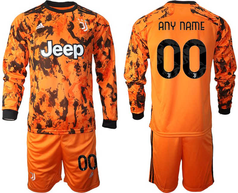 Wholesale Men 2020-2021 club Juventus away long sleeves customized orange Soccer Jerseys