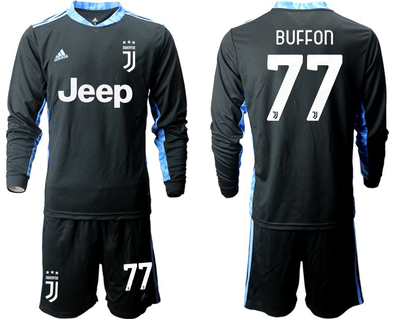 Wholesale Men 2020-2021 club Juventus black long sleeve goalkeeper 77 Soccer Jerseys
