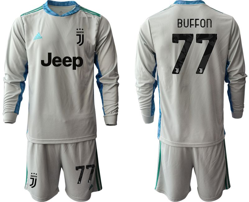Cheap Men 2020-2021 club Juventus gray long sleeve goalkeeper 77 Soccer Jerseys